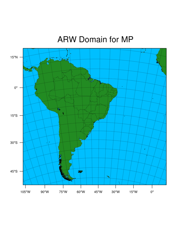 Figura 1 - Limites da região abrangida pelo modelo numérico de previsão do tempo Weather Research and Forecasting (WRF) do INPE/CPTEC