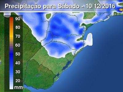 Sábado terá chuvas fortes e temporais no Sul do Brasil