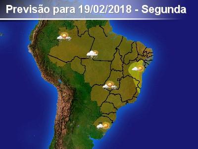 Pancadas de chuva forte isoladas em parte do país