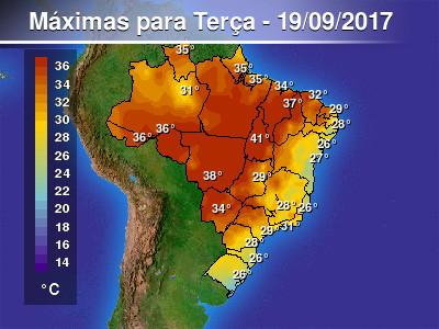 A tarde será quente em muitas áreas do Brasil