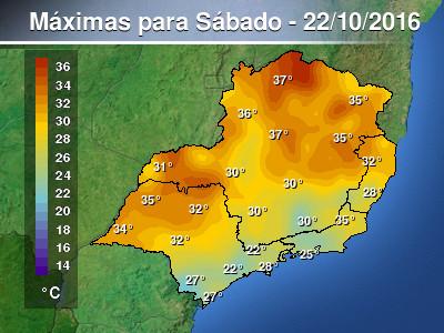 Previs�o de temperatura m�xima acima de 30� em parte do...