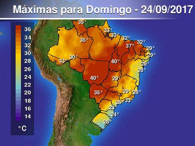 Domingo de muito calor em grande parte do Brasil