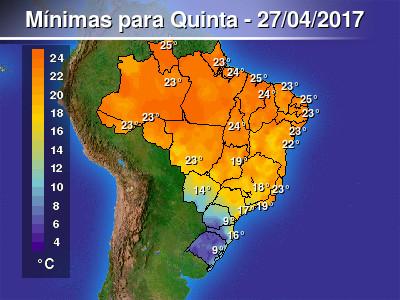 Frente fria avançará por parte das Regiões Sul, Sudeste...