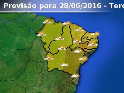 Tempo com chuva em parte do leste do Nordeste do Brasil