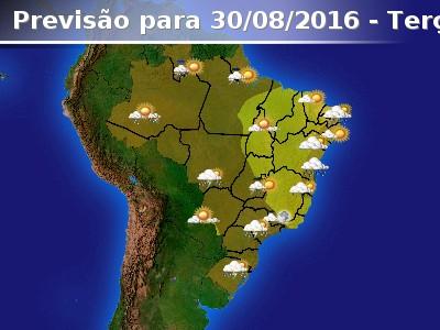 Frente fria avan�a por parte do Brasil