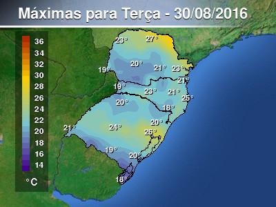 Temperaturas m�ximas em queda em parte do Sul do pa�s