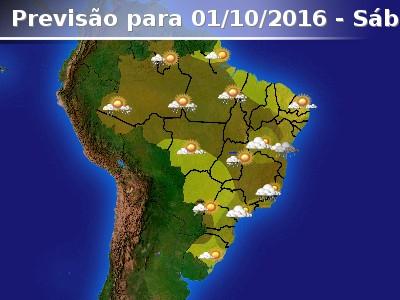 Fim de semana come�ar� com chuva em boa parte do Brasil