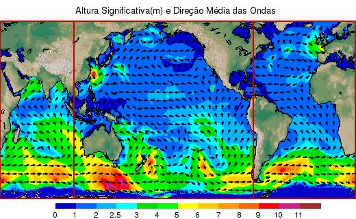 ALTURA SIGNIFICATIVA (M) y dirección de olas